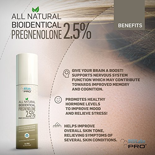 Pregnenolone - All Natural Bioidentical Pregnenolone - 2 5% - Nootropic  Brain Boost & Mood Support - Maximum Strength - Two Month Supply - 3oz