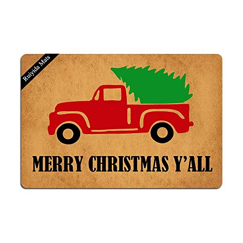 Ruiyida Vintage Truck Merry Christmas Y'all Doormat Custom Home Living Decor Housewares Rugs and Mats State Indoor Gift Ideas 23.6 by 15.7 Inch Machine Washable Fabric Top (Door Mat Christmas Coir)
