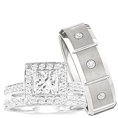 Amazoncom Wedding Ring set His Hers 3 Pieces 925 STERLING