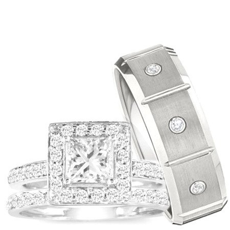 amazoncom wedding ring set his womens set - Wedding Ring Set For Her