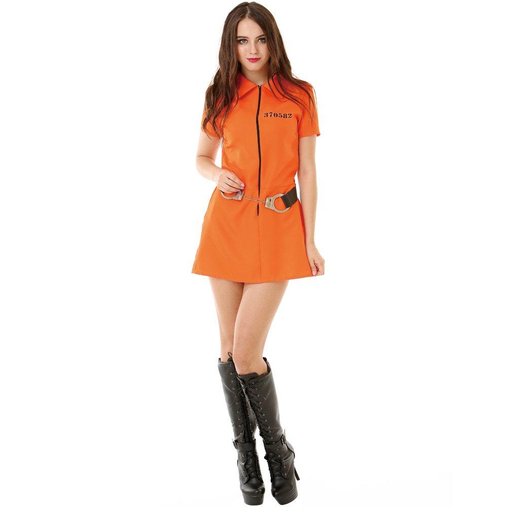 Intimate Inmate Women's Halloween Costume Orange Black Jailbird Prison Jumpsuit, Medium