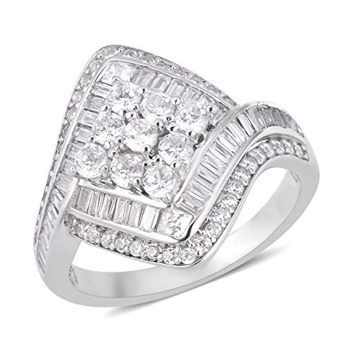 Cluster Ring 925 Sterling Silver Square White Cubic Zirconia CZ Jewelry for Women Size 9 Ct -
