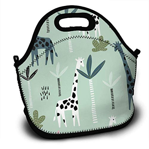 Insulated Neoprene Lunch Bag-Removable Shoulder Strap-Reusable Thermal Thick Lunch Tote/Lunch Box/Cooler Bag For Women,Teens,Girls,Kids,Baby,Adults - Giraffe Palm Tree