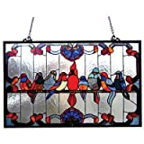 Tiffany-glass featuring Gathering Birds Window Panel