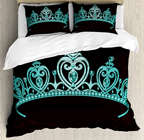 Fairy Tale Friends Tiara (Princess Queen Size Duvet Cover Set by Ambesonne, Fairytale Character Costume Tiara Crown with Vibrant Heart Figures Girls Kids Theme, Decorative 3 Piece Bedding Set with 2 Pillow Shams, Turquoise)