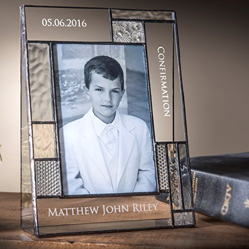 J Devlin Pic 392-46V EP577 Personalized Confirmation Picture Frame Engraved Glass 4x6 Vertical Portrait Photo Religious Keepsake Gift - Engraved Glass Picture Frame