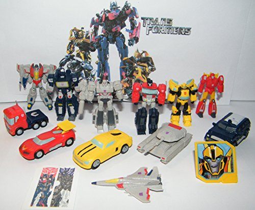Transformers Deluxe Party Favors Goody Bag Fillers Set of 14 with 12 Figures and Vehicles, Special Tattoo and ToyRing Featuring Optimus, Megatron, Bumblebee and Many More!]()