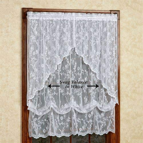 Curtain Chic, Inc. Cottage Garden Lace Swag Valance Pair 56 x 38