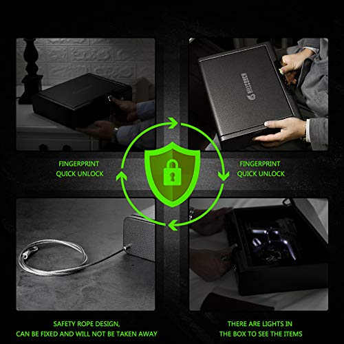 BILLCONCH Biometric Gun Safe, Smart Handgun Safe with APP Two Guns Capacity Pistol Safe with Auto-Open Lid and Rechargeable Battery (Biometric Safe)