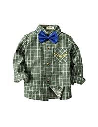 Pollyhb Baby Boys Long Sleeve Shirt, Toddler Baby Boys Plaid T Shirts Gentleman Tops