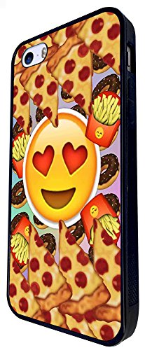 1217 - Smiley Emoji Yum Pizza Fries Doughnuts Design iphone SE - 2016 Coque Fashion Trend Case Coque Protection Cover plastique et métal - Noir