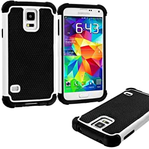 myLife (TM) Bright White and Black - Free Flex Series (2 Layer Hybrid) Slim Armor Case for the NEW Galaxy S5 (5G) Smartphone by Samsung (External Rubberized Hard Shell Flex Piece + Internal Soft Silicone Flexible Bumper Gel)