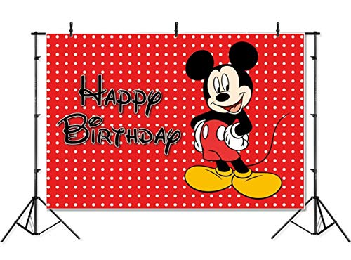 - Photography Backdrop Disney 7x5 Red Background Black Mickey Mouse Happy Birthday Photographic Background Banner