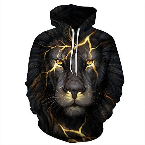 NEWCOSPLAY Unisex Realistic 3D Digital Print Pullover Hoodie Hooded Sweatshirt (S/M, Black Lion)