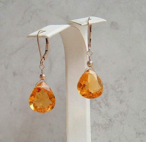 Golden Yellow Teardrop Quartz Faux Citrine November Birthstone Gold Filled Leverback Earrings Gift Idea
