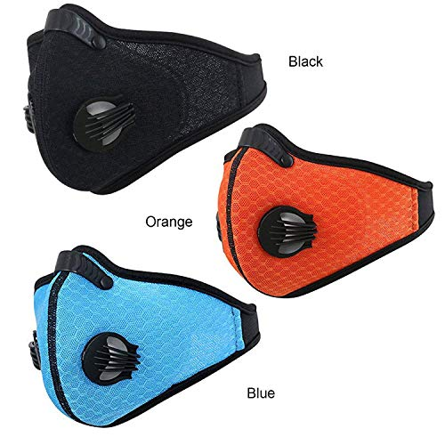 Activated Carbon Dustproof/Dust Mask - Filter Cotton Sheet and Valves for Exhaust Gas, Pollen Allergy, PM2.5, Running, Cycling, Outdoor Activities (Black+Orange) by Tunity (Image #3)