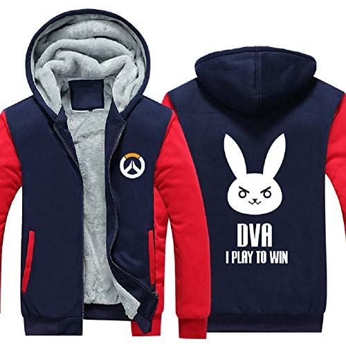 OW Hot Game Cosplay Hoodie Zip Up Thick Fleece Velvet Jacket Sweatshirt Coat 4XL