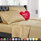 Cal King Size Bed Sheets Set, Royal Gold (Camel), Best Quality Bedding Sheet Set, 4-Piece (California King), Deep Pockets Fitted Sheet, 100% Luxury Soft Microfiber, Hypoallergenic, Cool & Breathable