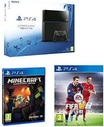 Sony PlayStation 4 PS4 1TB gaming Console With PS4 FIFA 16 PS4 game Minecraft PS4 Game great Value for the Over 7 Kids by PlayStation 4: Amazon.es: Videojuegos