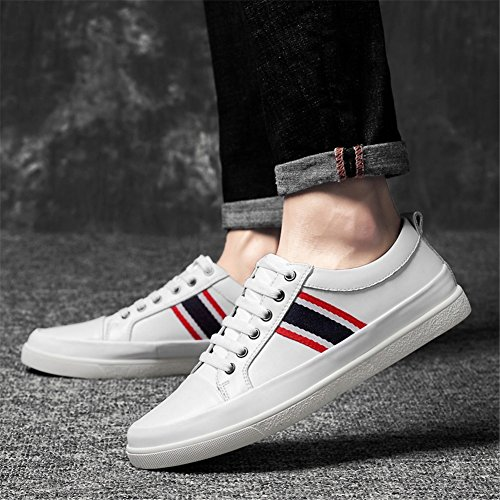 Size 46 up Driving Business Shoes White Mens Work Casual Leather Lace Breathable Comfort Shoes Sneakers Formal New 2018 Black HUAN White Shoes Color qP0wB1Z