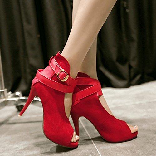 COOLCEPT Mujer Moda Al Tobillo Court Zapatos Peep Toe Bombas Zapatos Tacon Aguja Zapatos Rojo