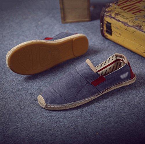 Chenyang Scuro Casuali Comode Flats Espadrillas On Blu Unisex Slip Scarpe Basse qrB6v1qUw
