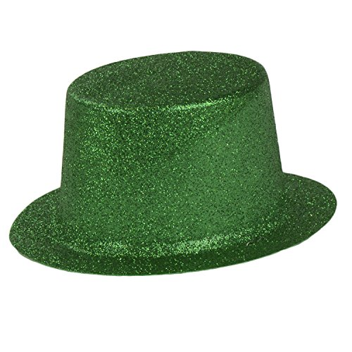 St. Patricks Day Mini Top Hats, Green Glitter Hat with Elastic Strap by bogo Brands ()