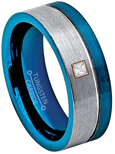 0.05ctw Solitaire Princess Cut Diamond Tungsten Ring - 8MM Brushed 2-Tone Blue Pipe Cut Tungsten Carbide Wedding Band - April Birthstone Ring - s7 ()