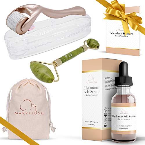 - Derma Roller, Jade Roller & Hyaluronic Acid Serum | Anti-aging Facial Skin Care | Reduce Dark Under- Eye Circles | 540 Titanium Microneedles 0.3mm | ✨ Marvelush Skincare Bundle ✨