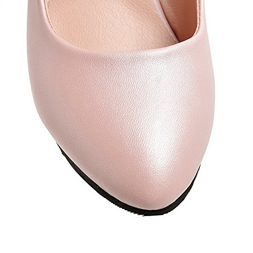 AllhqFashion Damen Ziehen auf Hoher Absatz PU Leder Fransig Spitz Zehe Pumps Schuhe Pink