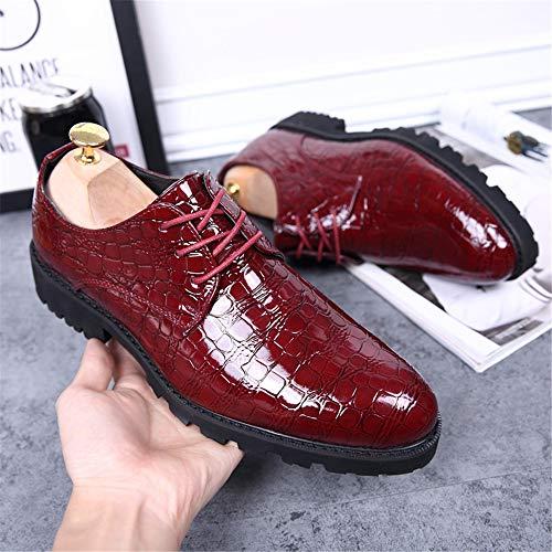 Bangxiu Hombres Vestir Bajos Cuero De Cordones Cómodos Liso Con Oxford Formales Negocios Los Clásico Rojo Moda Zapatos Impermeables Comfort rqwIx6r1