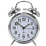 LABANCA Lovely Round Metal Alarm Clock Twin Bell Quartz Desk Table Clock Backlight Night Light Illuminant Home Decor Daily Alarms Silver