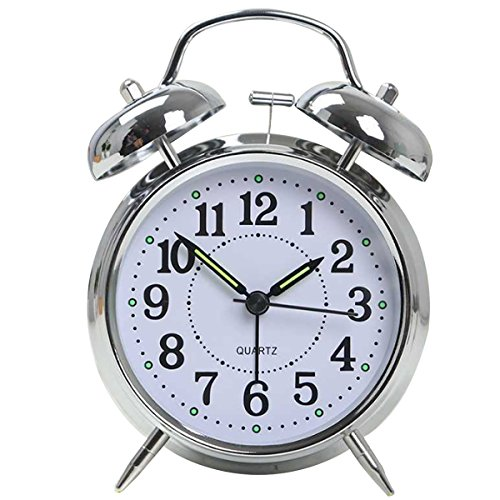Aisa Classic Two Bells Portable Handle Alarm Clock Mute Walk Room Office Desk Decor Clock With Night Light Silver (Alarm Walk Clock)