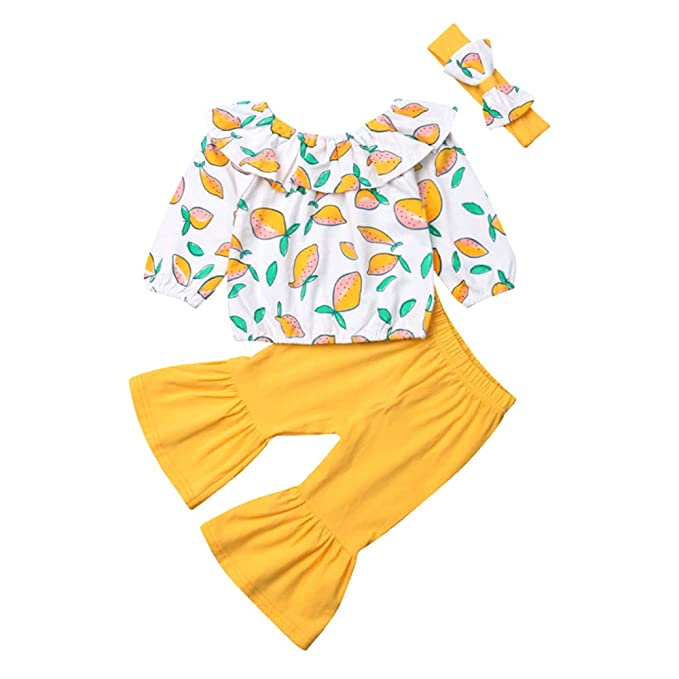 18a75f5ca9752 Amazon.com  DoreenDory Baby Toddler Girls Off Shoulder Tops Shirt Flare Bell -Bottoms Pants Headband 3Pcs Outfits Set  Clothing