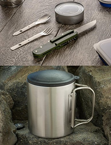 CampMaster 11 in 1 Campers, Hikers & Backpackers Eating & Drinking Dinnerware Essentials Kit | Knife | Fork | Spoon | Bottle & Can Opener | Corkscrew | 7.4 Oz Double Wall Mug Cup | - Ounce 7.4 Bowls