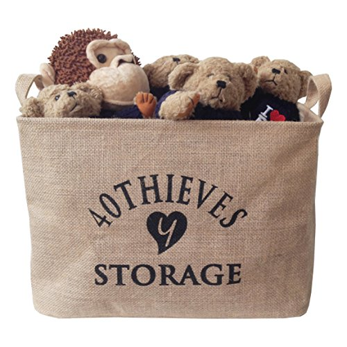 Y 40 THIEVES Medium Jute Storage Bin 14.5 x 10 x 10