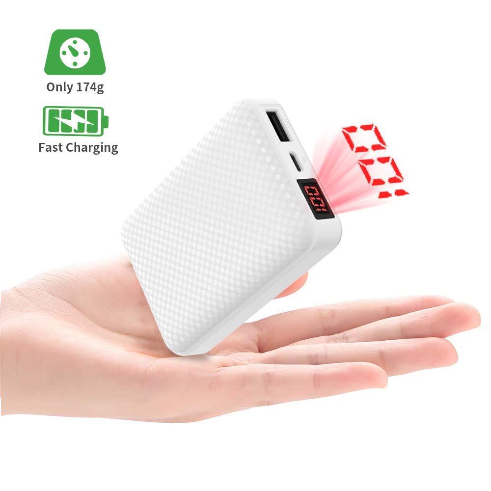 Power Bank 10000mAh Batería Externa [LCD Pantalla Digital] Cargador Portátil Móvil Pequeña y Liviana con 2.1A Puertos Salidas USB Alta Velocidad para ...