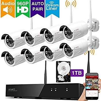 [Audio & Video] xmartO 8 Channel 960p HD Wireless Security Camera System with 8 HD Infrared Outdoor WiFi Cameras and 1TB Hard Drive, Dream Liner WiFi Relay, NVR Built-in Router, Auto-Pair