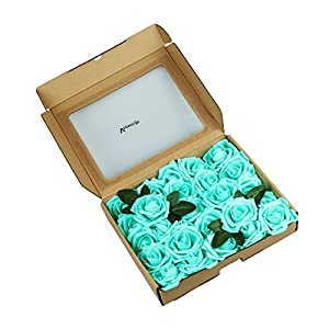Vlovelife 50pcs Teal Blue Real Looking Fake Roses Artificial Flowers Roses Head With Stem for DIY Wedding Bouquets Centerpieces Arrangements Birthday Baby Shower Home Party Decorations 4