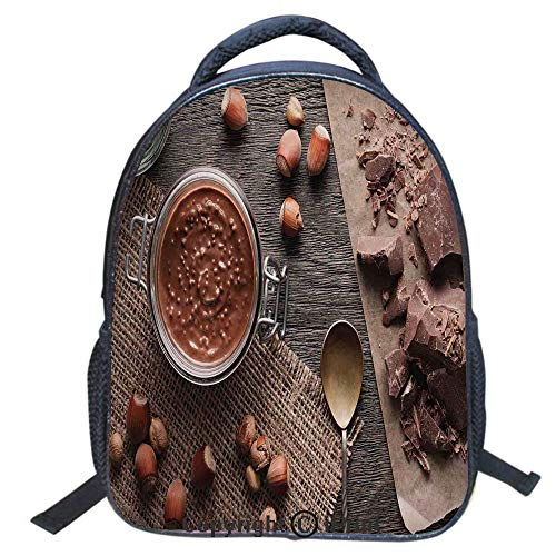 Print Laptop Backpack Book Bag School Bags Travel Day Pack,Girl's School Polyester Fiber Book Bag,16 inch,Natural Chocolate Cocoa Cream Image Rustic Style Image Cafe Home Art Design Wooden Surface