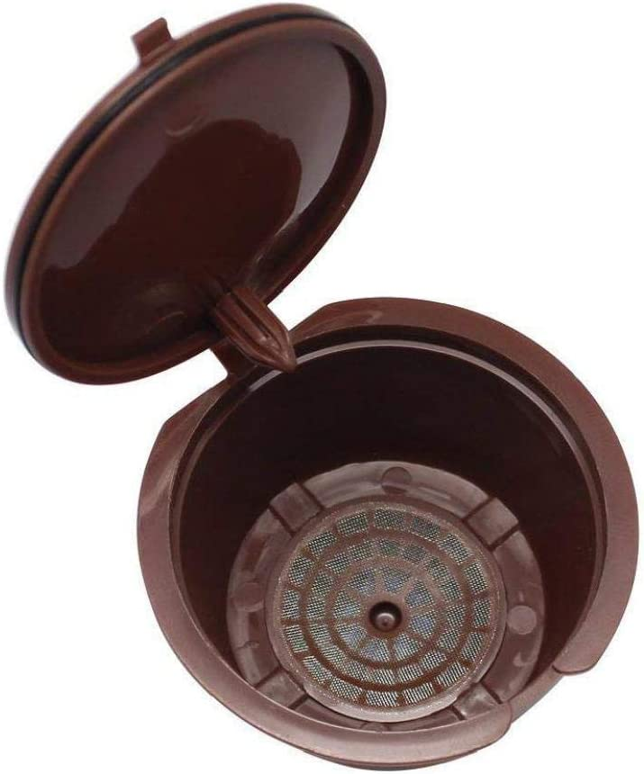 tJexePYK Reutilizable c/ápsulas de caf/é de Filtro Copa Recargable c/ápsulas de caf/é de Filtro de la Vaina con Cepillo y la Cuchara por Nescaf/é Dolce Gusto Brown 5Pcs