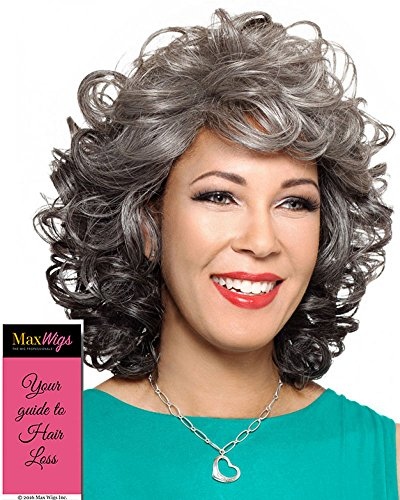 Helena Wig Color 2 - Foxy Silver Wigs Medium Length Bouncy Curls Synthetic Wispy Bangs African American Women's Machine Wefted Lightweight Average Cap Bundle with MaxWigs Hairloss Booklet