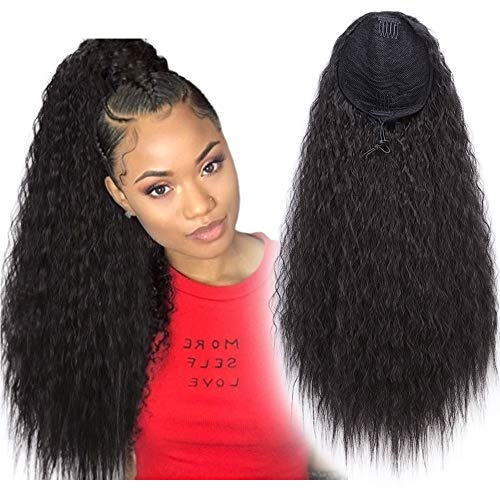 Stamped Glorious 22 Inch Drawstring Ponytail Extensions Synthetic Long Corn Wave Ponytail Extension Curly Wavy Drawstring Extensions Clip in on Ponytail Hair Extensions(2#)