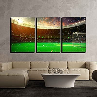 3 Piece Canvas Wall Art - Evening Stadium Arena Soccer Field Championship Win. Confetti and Tinsel - Modern Home Art Stretched and Framed Ready to Hang - 24
