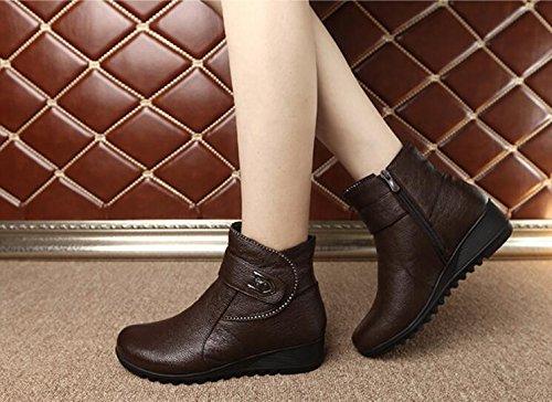 KHSKX-My Mother Cotton Shoes Winter Plus Velvet Brown Shoes The Older 4Cm With Warm Shoes 36 FDogDGu3c