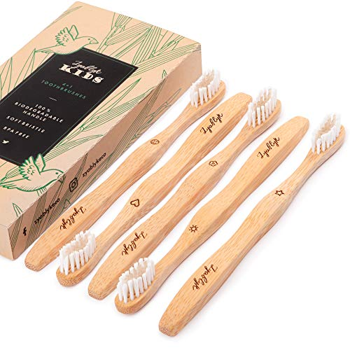 Zyablyk Kids Bamboo Toothbrushes Set, Pack of 5 Organic and Biodegradable Natural Wood Toothbrushes, Extra Soft Bristles, Zero-Waste Packaging, BPA Free