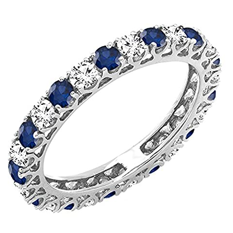 14K White Gold White Diamond & Blue Sapphire Eternity Wedding Anniversary Stackable Band (Size 5.5) - Blue Sapphire Eternity Ring