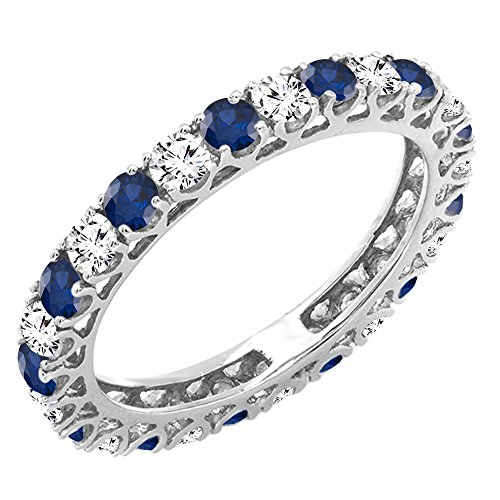 Gold Unique Diamond Eternity Band (14K White Gold White Diamond & Blue Sapphire Eternity Wedding Anniversary Stackable Band (Size 8.5))