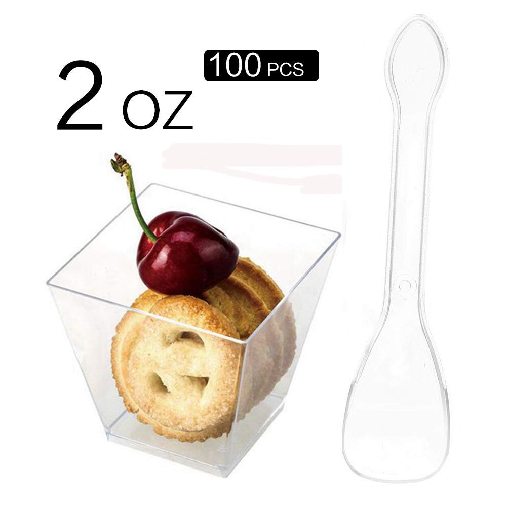 SZUAH Disposable Mini Desert Cups, Clear Plastic Appetizer Cups with Spoons, 2oz for Appetizer, Catering Supplies, Tumblers Shooters[100 Pack, Square] …