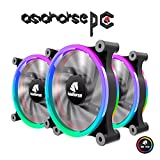 Asiahorse Wireless RGB LED 120mm Case Fan,Quiet Edition High Airflow Adjustable Color LED Case Fan for PC Cases, CPU Coolers,Radiators system